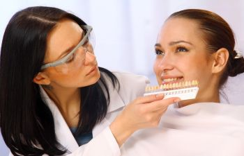 Woman with a dental implants
