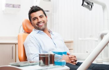 Happy dentist patient