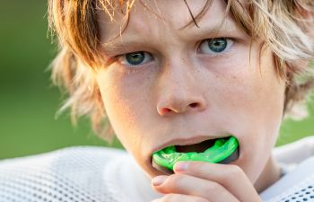 Boy with a mouthguard